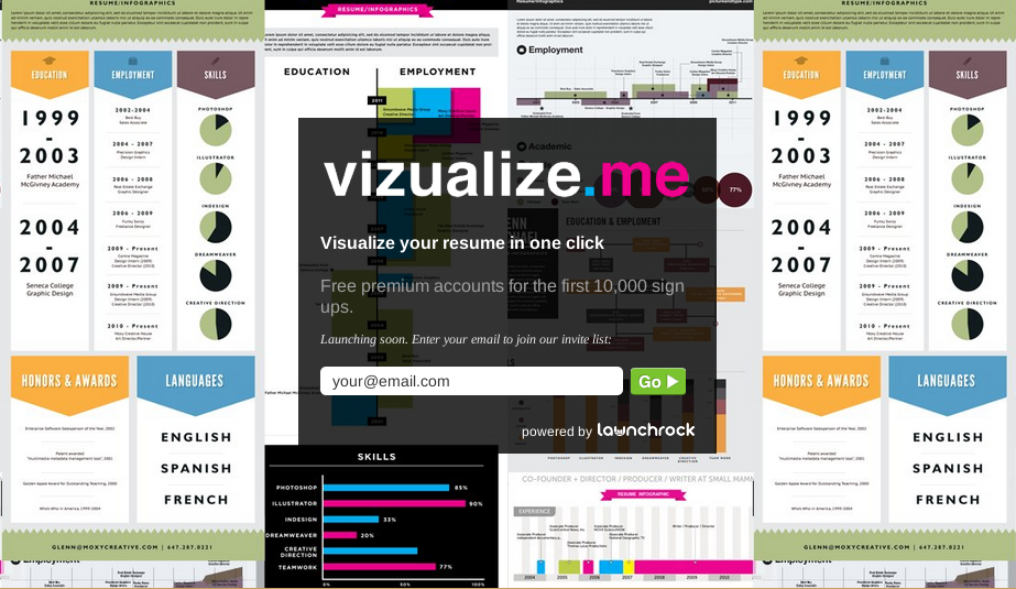 Vizualizeme Visualize your resume in one click